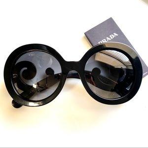 Prada Black Baroque 55mm Round Sunglasses
